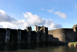 Exterior of Caerphilly Castle, South Wales