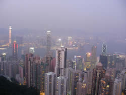 Night-time view from Victoria Peak (commonly known as 'the peak')