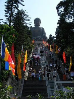 The climb up to the big buddha