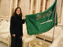 Standing by a Saudi flag in one of the reception rooms of the Shura Council, the 150 member consultative group to the King