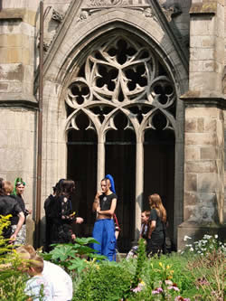 The Gothic cloister garden creates the ideal backdrop for photo sessions during the Summer Darkness festival