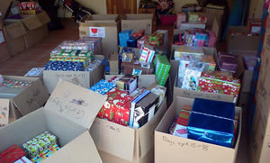 Donated shoeboxes ready for distribution