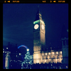 Big Ben in London at Christmas