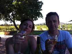 Myself and John having a glass of wine at the Laughin' Barrell winery in Swan Valley