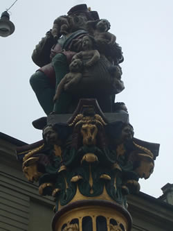 The infamous Giant Eating Babies fountain located near the Zytglogge in Bern