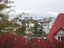 View of central Reykjavík in the fall
