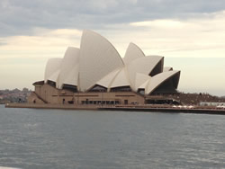 This is the Sydney Opera House taken from a ferry that took us from The Rocks to Double Bay
