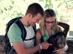 Holding a baby Orangutan at the Bali Safari
