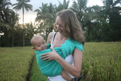 Taking baby for a walk, Bali style!