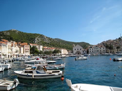On the island of Hvar, complete with sunshine and crystal clear blue water.