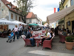 Tkal�i�eva Street in Zagreb.  An entire street lined both sides with charming cafes.