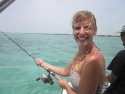 Learning how to fish at Ambergris Caye, Belize