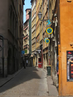 One of the winding rues of Vieux Lyon on a rare sunny day