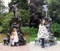 Myself with my sister Zoe in England when we lived in in the 90s and again with me recently.