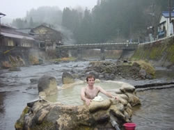 Enjoying a Hot Spring in a River