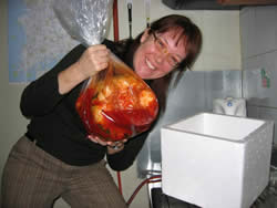 Me, with a huge bag of kimchi from the school custodian (not a severed head).