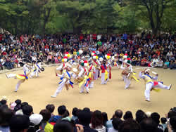 Korean traditional marching band performing at the Folk Village in Suwon