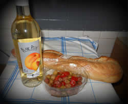 Fave French food - baguette, wine & olives