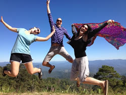 The jumping picture of happiness near Lod Caves, Pai