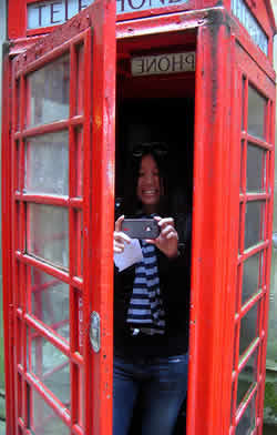 Inside a classic red phone booth