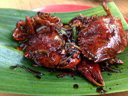 Singapore's famous Chili Crab at Lau Pa Sat.