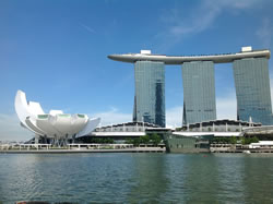The Marina Bay Sands Hotel and Art Science Museum.