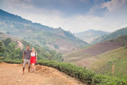 Jmayel & I in Mae Salong, North Thailand, walking through an Oolong tea plantation