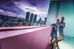 Jmayel & I looking out at the view from a Bangkok rooftop!