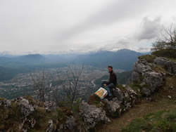 My husband overlooking the city of Grenoble from the Bastille.