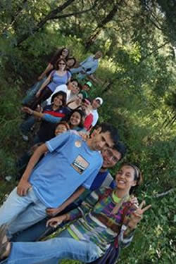 Hiking with my students, Guatemala City (I am the last one in the line, in a black t-shirt)