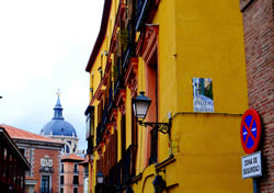One of my favorite things about Madrid-  the colorful buildings and narrow streets!
