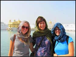 Girls at the amritsar temple, I do have to cover my blonde hair here sometimes