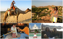 A collage of the best of being an expat in India:I can easily see so much beauty a train ride away! the Taj, the ruins of Hampi, rowing in the Ganges in Varanasi, and riding a camel in the Thar desert.