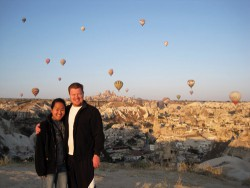 Watching the hot air balloons in Cappadocia.