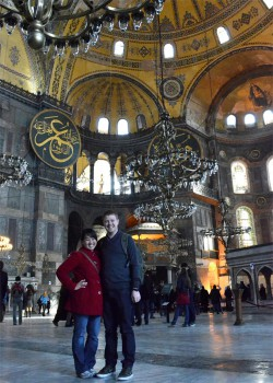 Inside the Hagia Sofia Mosque in Istanbul.