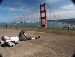 Napping at the Golden Gate Bridge in San Francisco (2004)