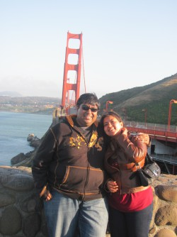 At the Golden Gate Bridge with my husband Rohit