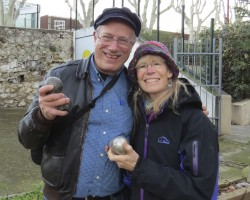 Kathy and I after an evening of boules with fellow students at IS-Aix, our language school.