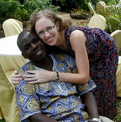 Rachel and her husband at a Kenyan wedding