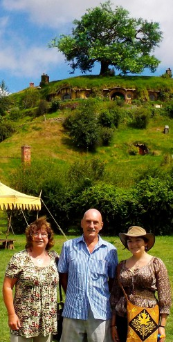 Mum, Grandpa and I in Hobbiton