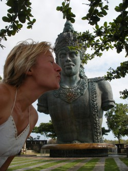 Giving Shiva a kiss on the cheek...well, the neck, in Bali, Indonesia