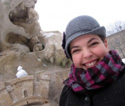 In the Saint-Sulpice fountain, making a snow-pigeon