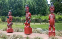 Maori figures in Coromandel Town, New Zealand