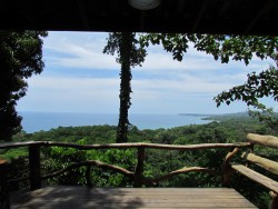 Overlooking the ocean in Costa Rica from an organic chocolate tour in Cocles near Puerto Viejo.