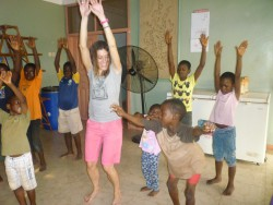 Dancing zumba with the orphans