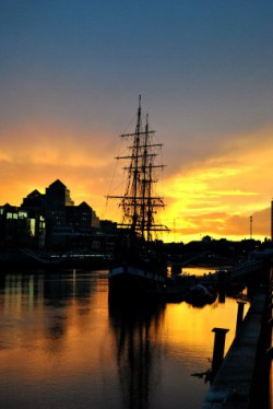 The famine ship replica Jeanie Johnson moored along Custom House Quay on Dublin's River Liffey