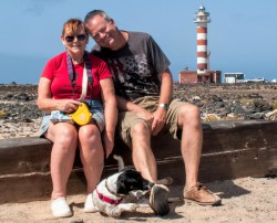 Sue, myself and Oscar at El Cotillo lighthouse